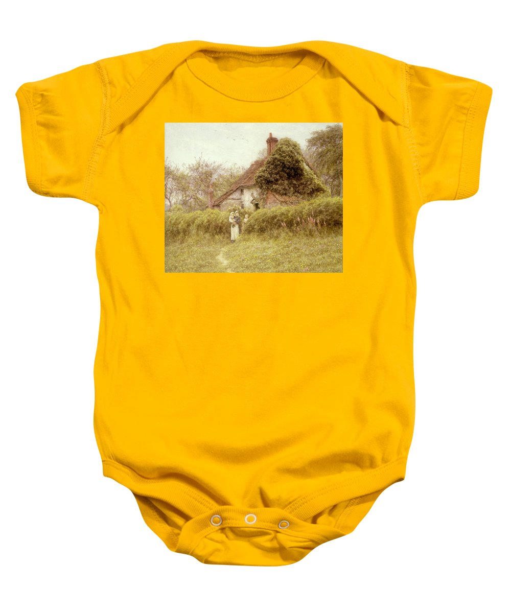 Garden; Cottage Baby Onesie featuring the painting Cottage At Pinner Middlesex by Helen Allingham