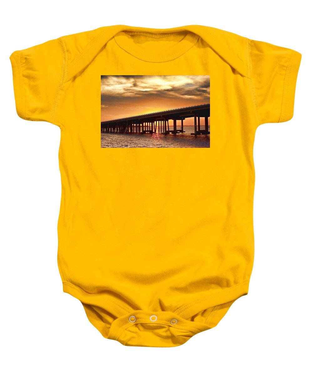 Crab Island Baby Onesie featuring the photograph Crab Island Bridge by Sheri Bartoszek