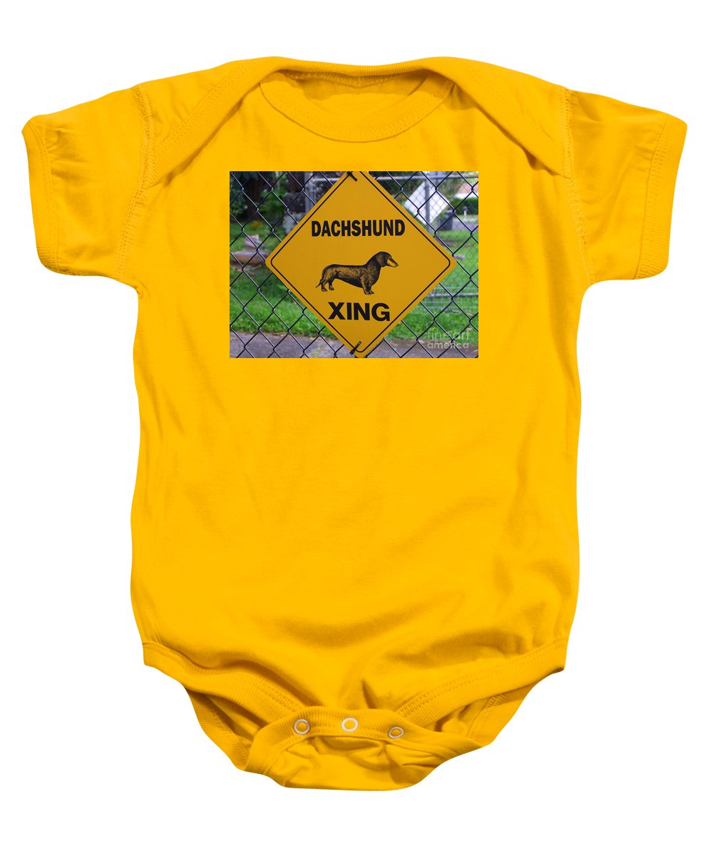 Signs Baby Onesie featuring the photograph Dachshund Crossing by Mary Deal