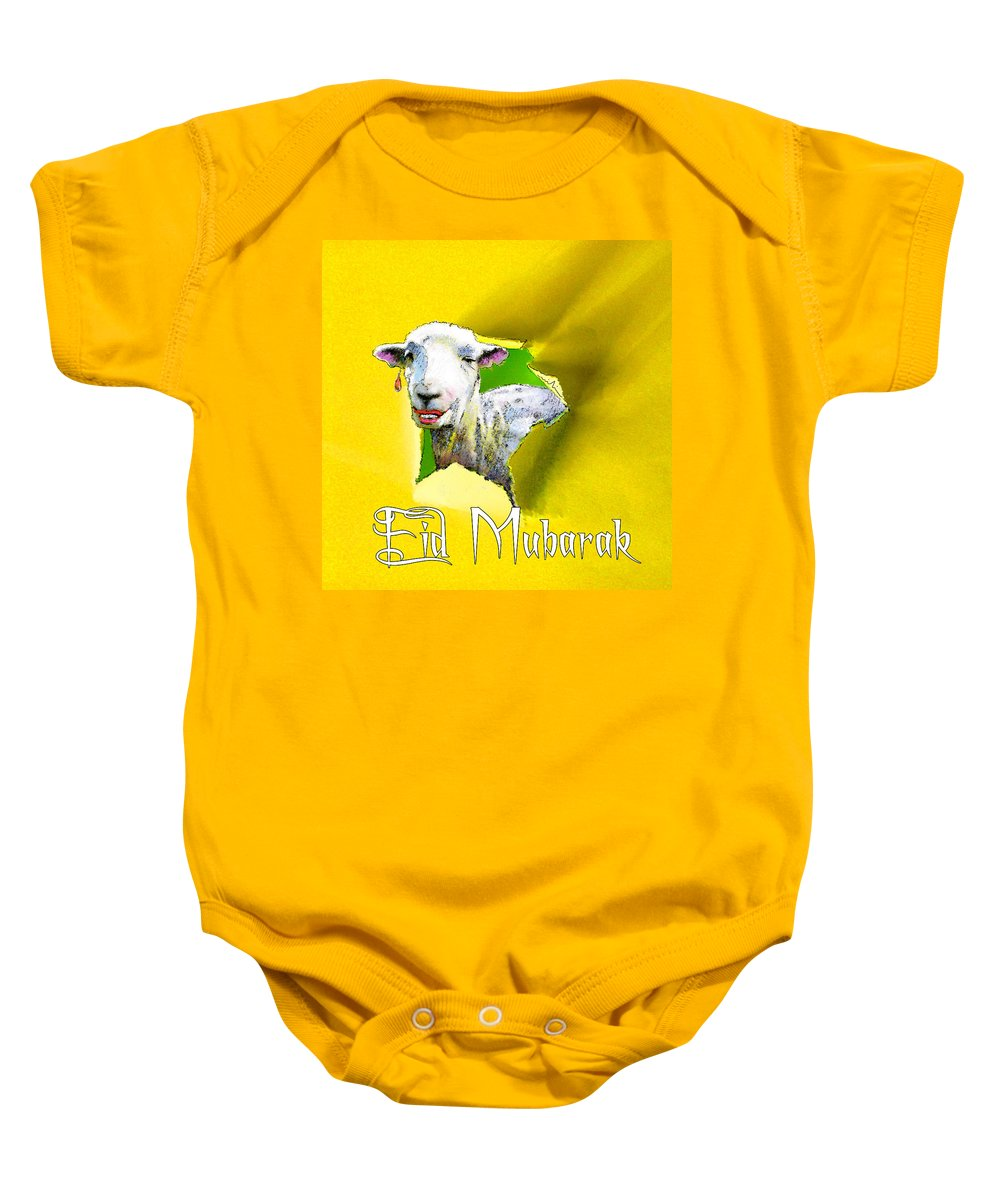 Animals Baby Onesie featuring the painting Eid Mubarak by Miki De Goodaboom