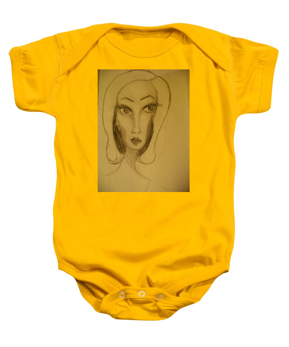 Baby Onesie featuring the drawing Fawny Eyes by Laurette Escobar