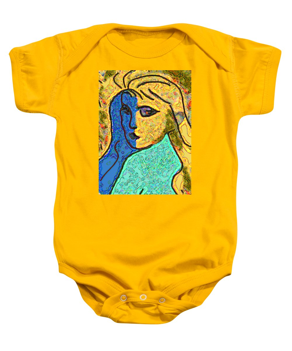 Female Baby Onesie featuring the digital art Feminine Kaleidoscope by Donna Blackhall