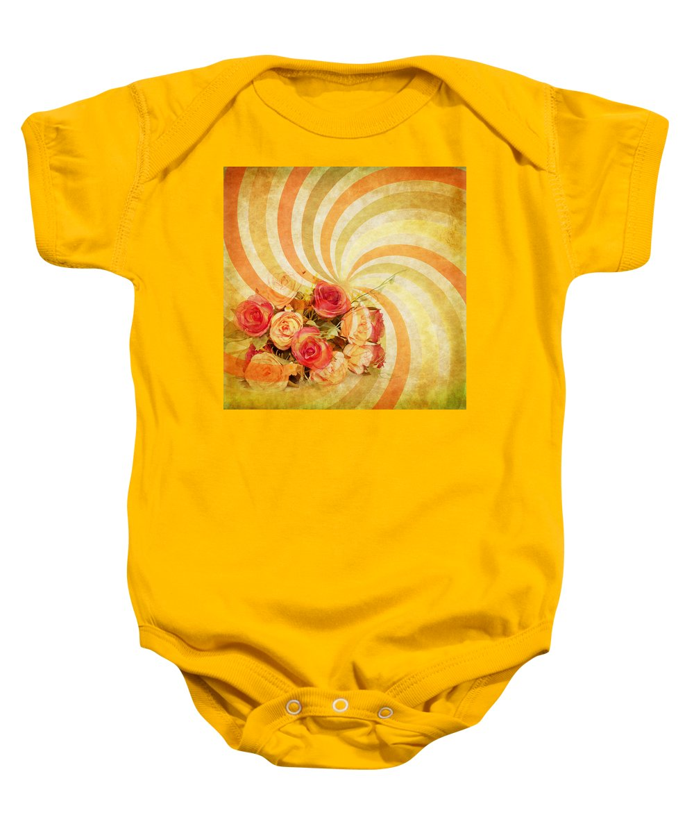 Abstract Baby Onesie featuring the photograph Flower Pattern Retro Style by Setsiri Silapasuwanchai