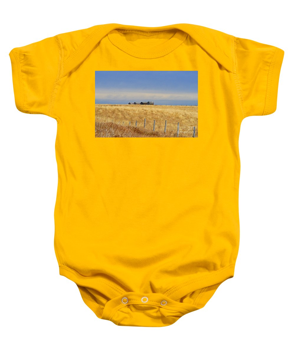 Old Barn Baby Onesie featuring the photograph Four Outbuildings In The Field by Randy Harris