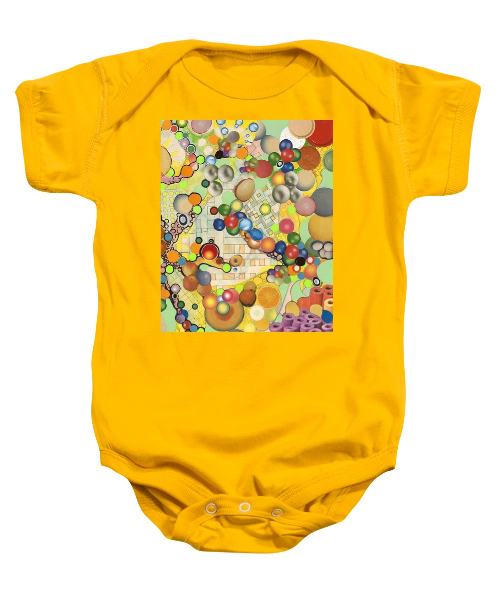 Collage Baby Onesie featuring the mixed media Globious Maximous by Douglas Fromm