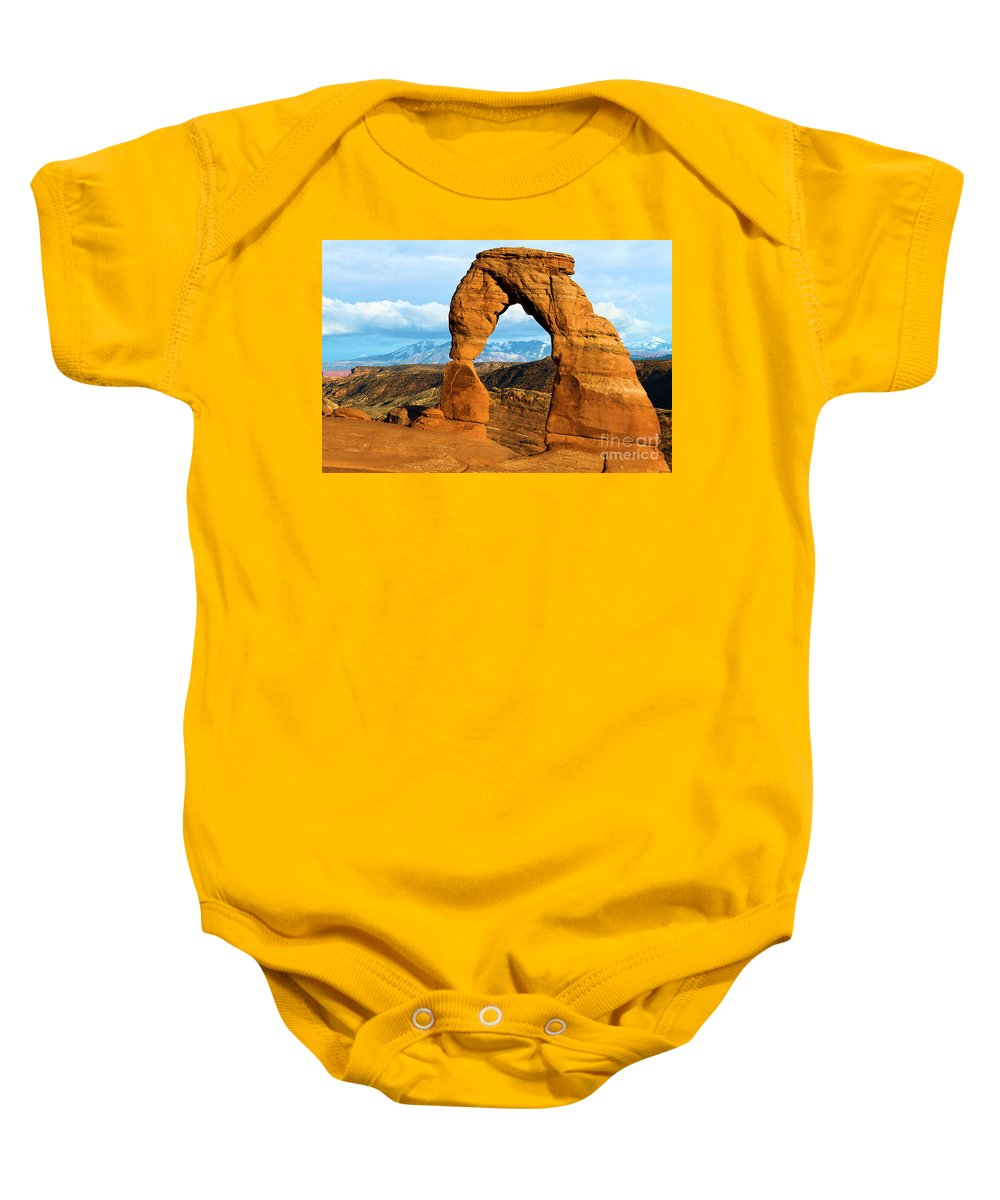 Delicate Arch Baby Onesie featuring the photograph Glowing In The Sunlight by Adam Jewell