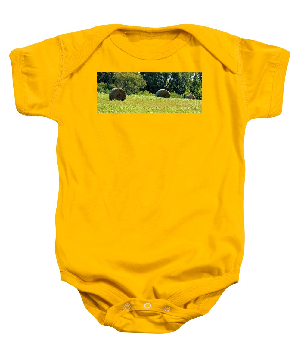 Golden Baby Onesie featuring the photograph Golden Hay Day by Maria Urso