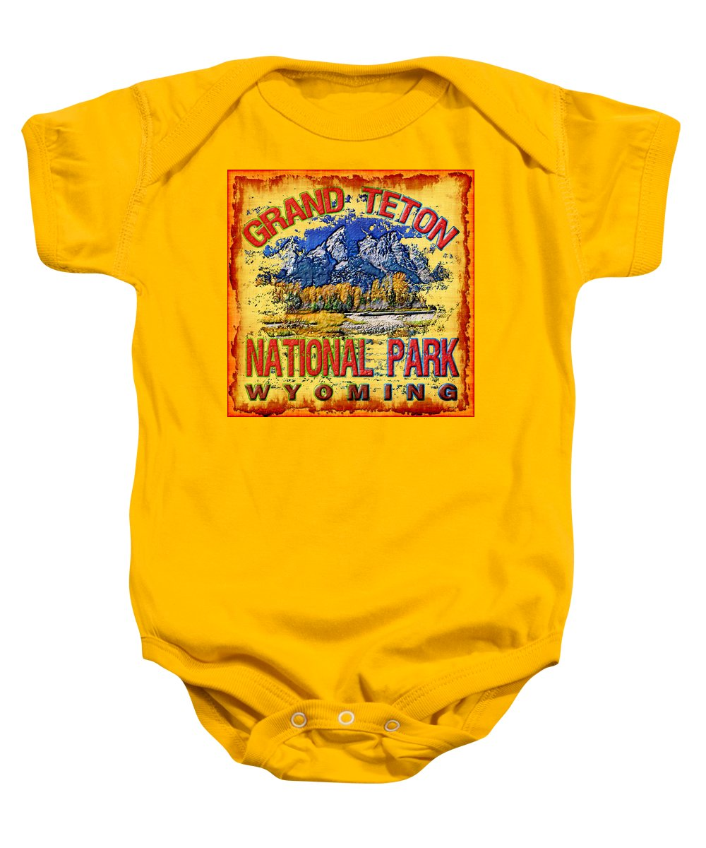 Teton Baby Onesie featuring the photograph Grand Teton National Park by David G Paul