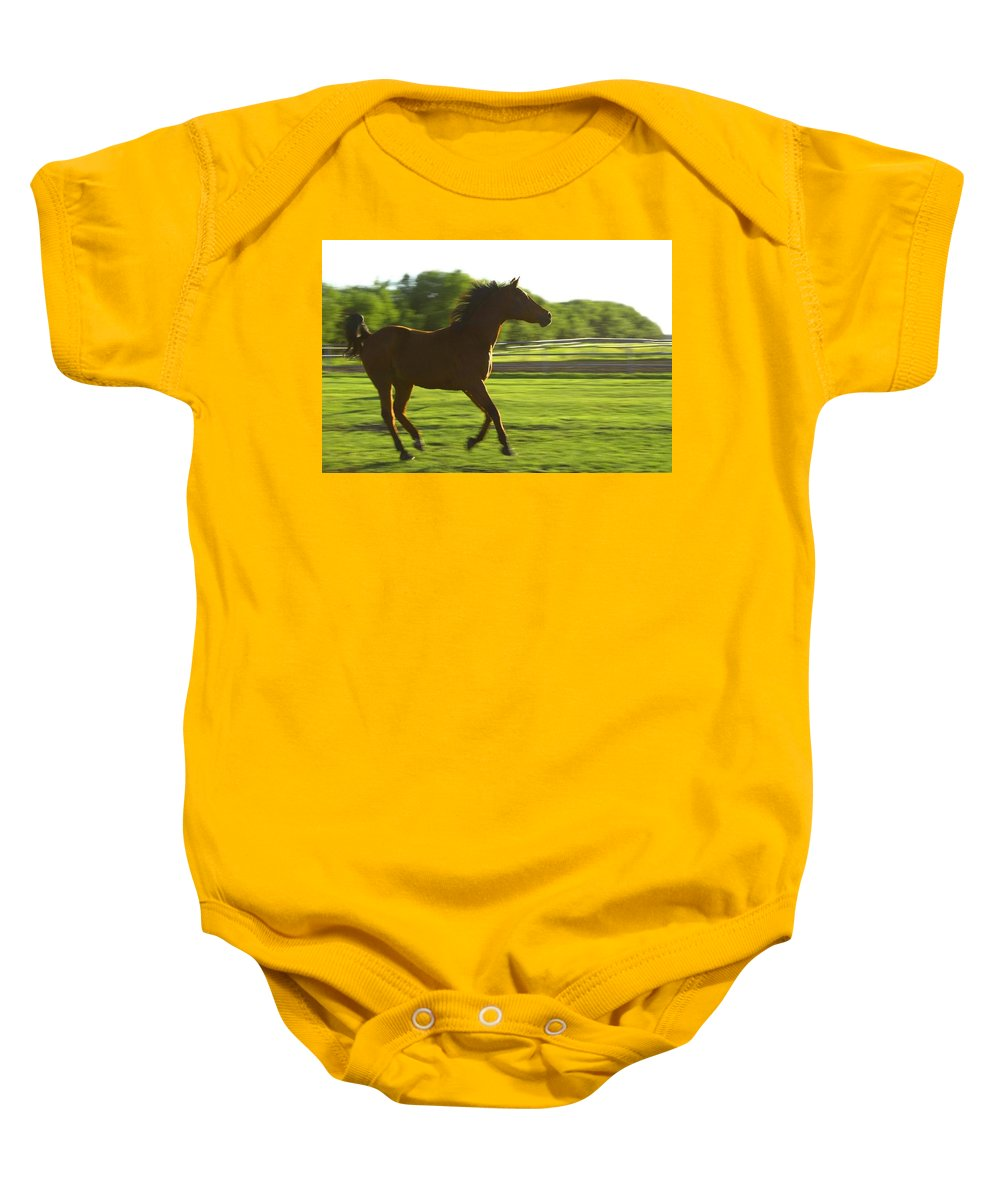 Country Baby Onesie featuring the photograph Horse Galloping by Colette Scharf