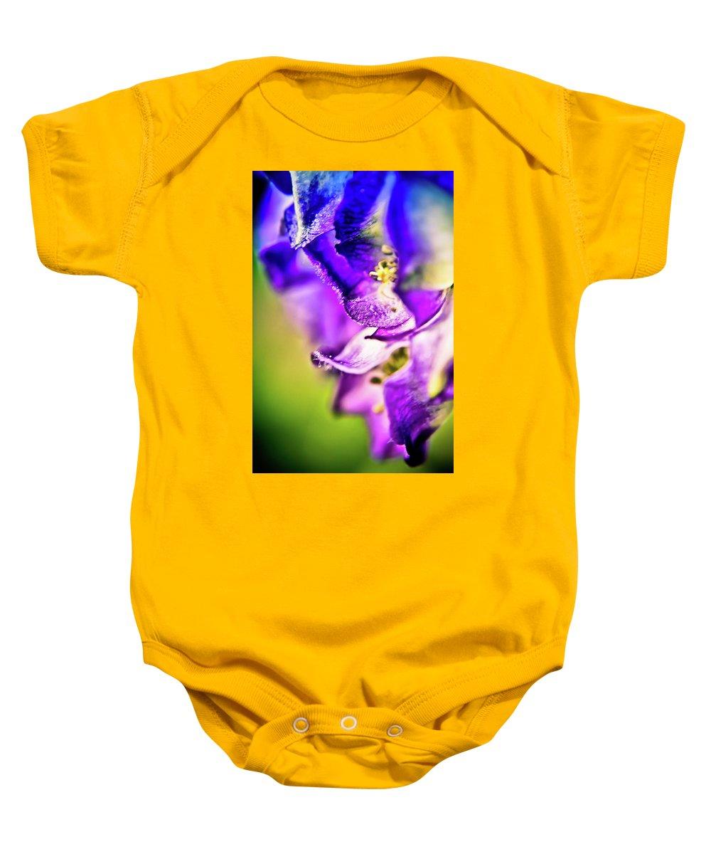 Flower Petals Baby Onesie featuring the photograph Indigo Flower by Sarah Wiggins