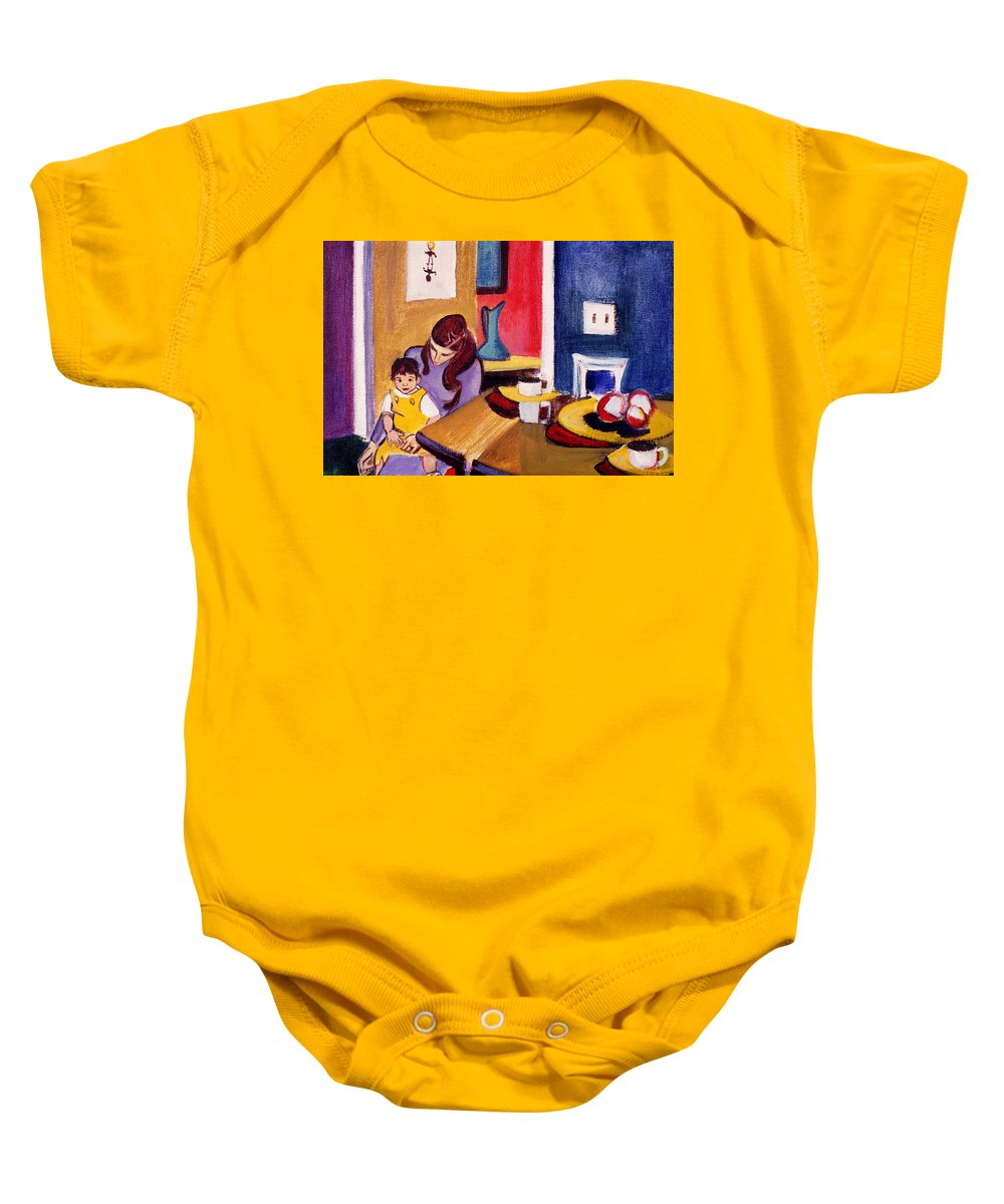 Mother And Small Child Baby Onesie featuring the painting Jacquie And Jon by Betty Pieper