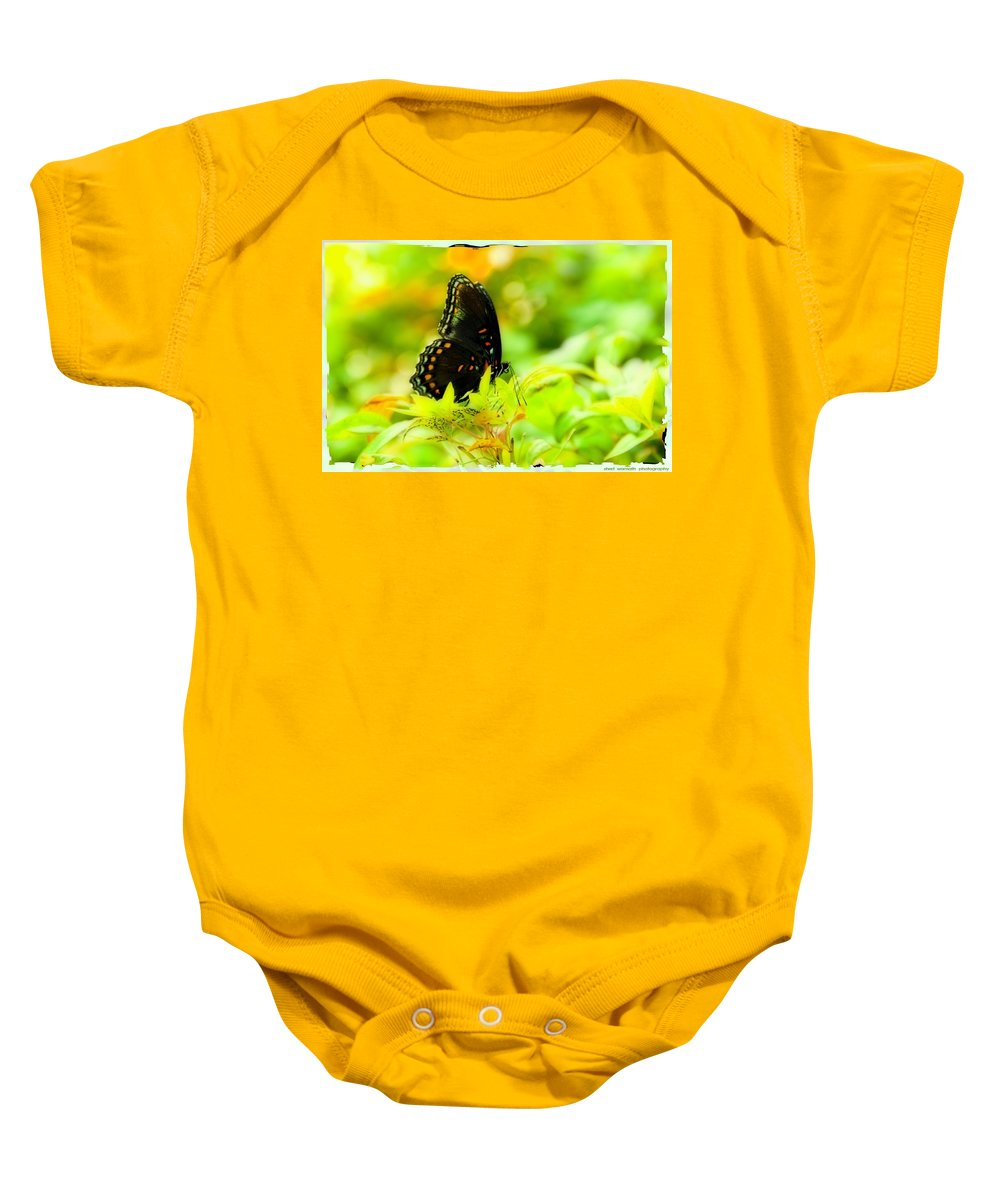Yellow Baby Onesie featuring the photograph Lemon Lime Butterfly by Sheri Bartoszek