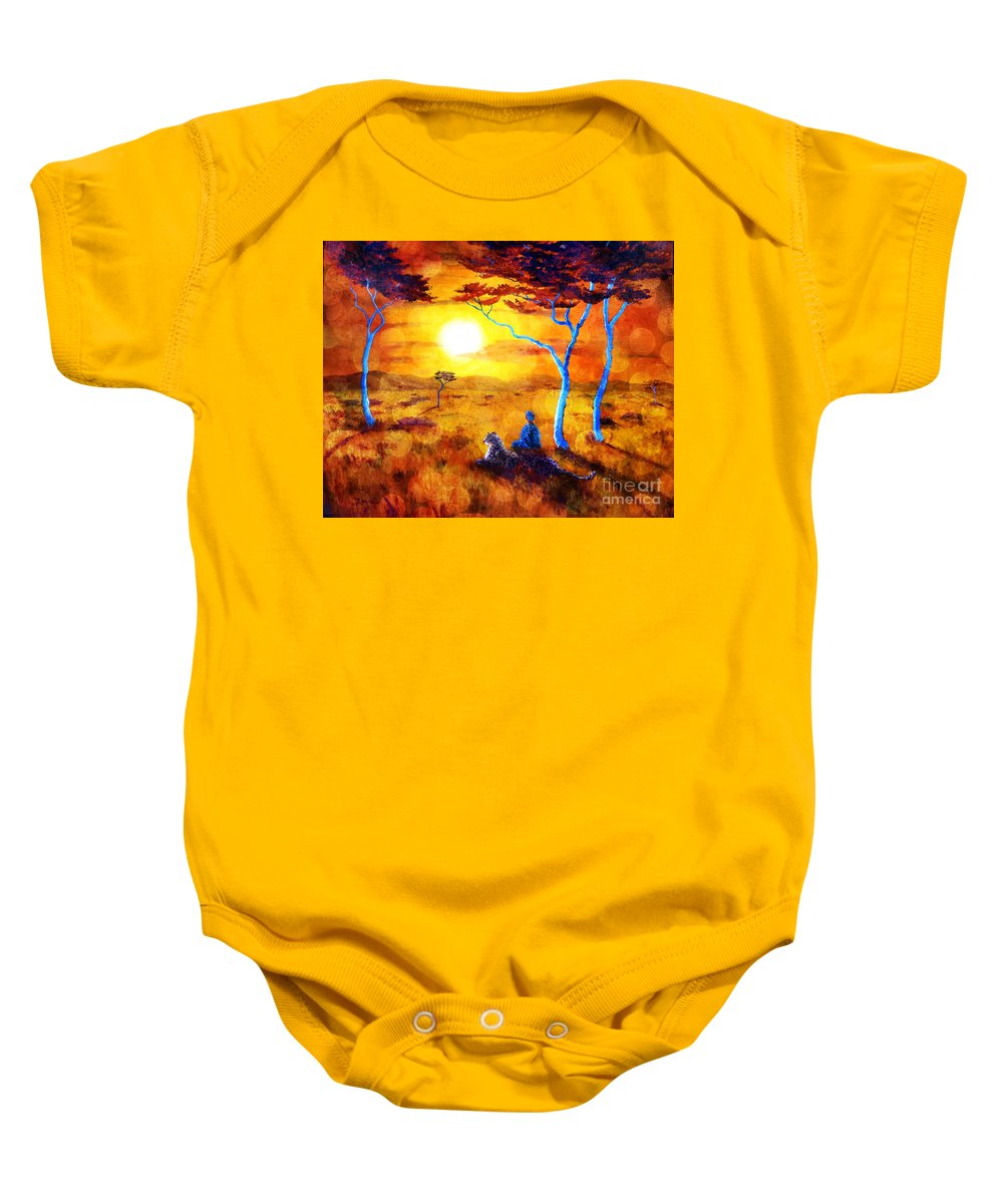 Leopard Baby Onesie featuring the painting Leopard Dream Meditation by Laura Iverson