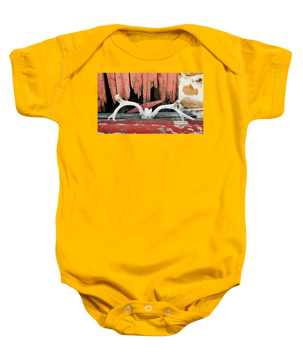 Cherryvale Baby Onesie featuring the photograph Little Antlers 1 by Marilyn Hunt