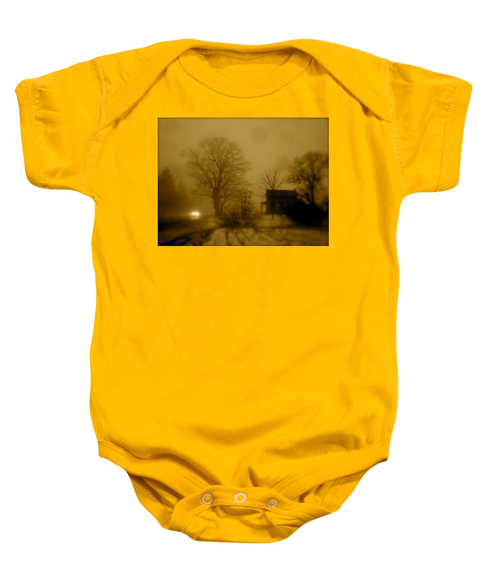 Landscape Baby Onesie featuring the photograph Lone Traveler by Arthur Barnes