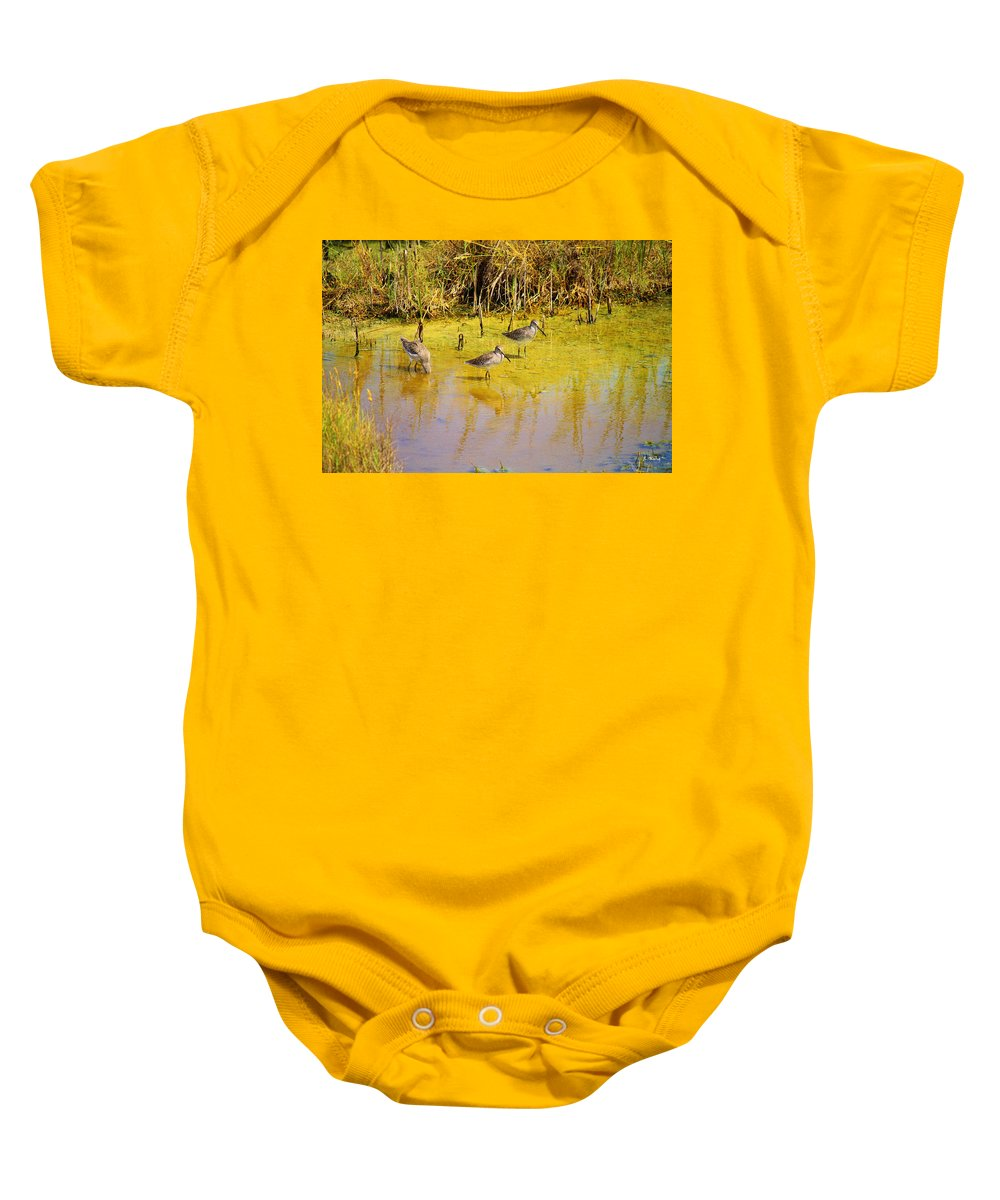 Roena King Baby Onesie featuring the photograph Long Billed Dowitchers Migrating by Roena King