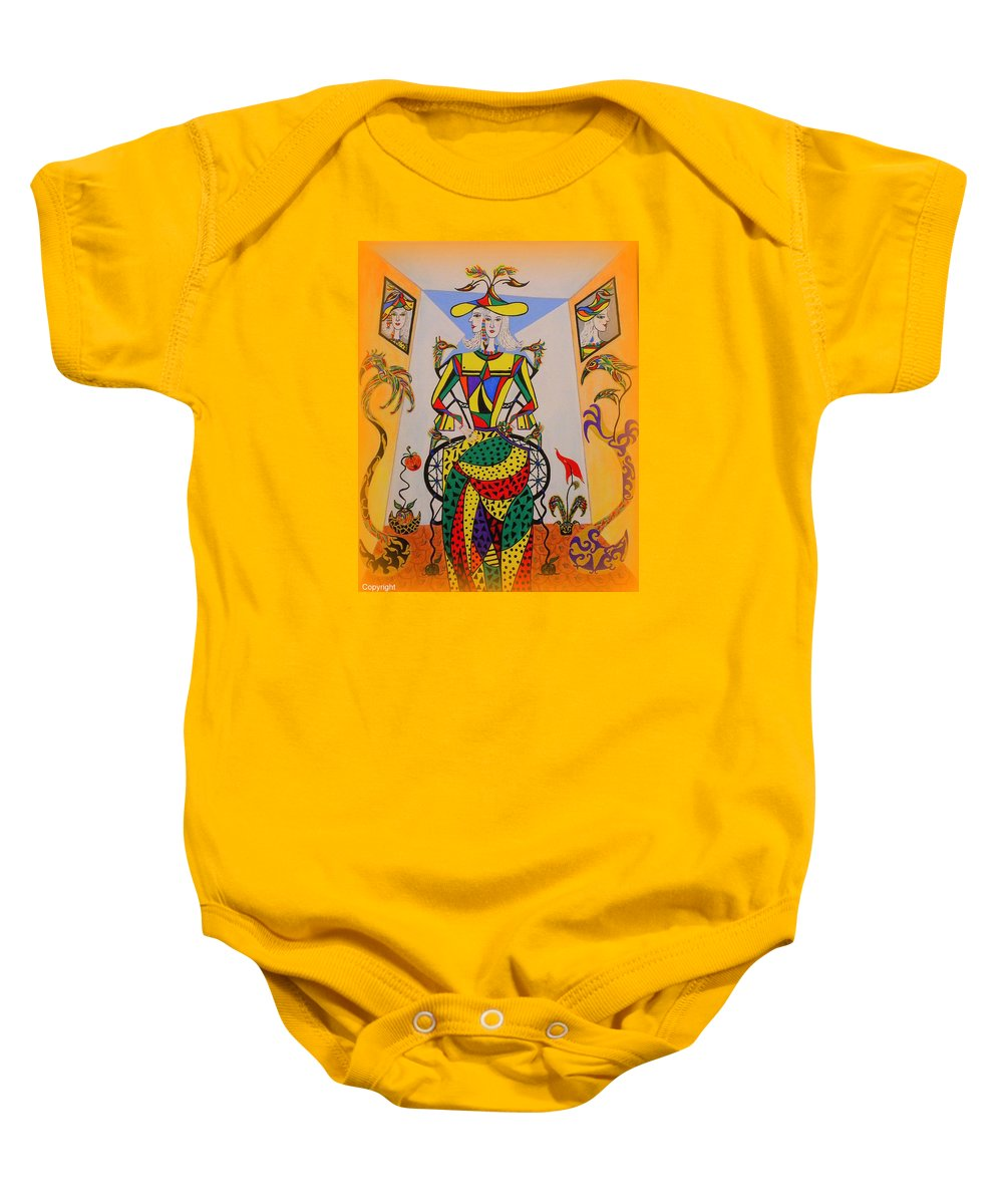 Graduation Gift For Friends Baby Onesie featuring the painting Eleonore Graduation by Marie Schwarzer