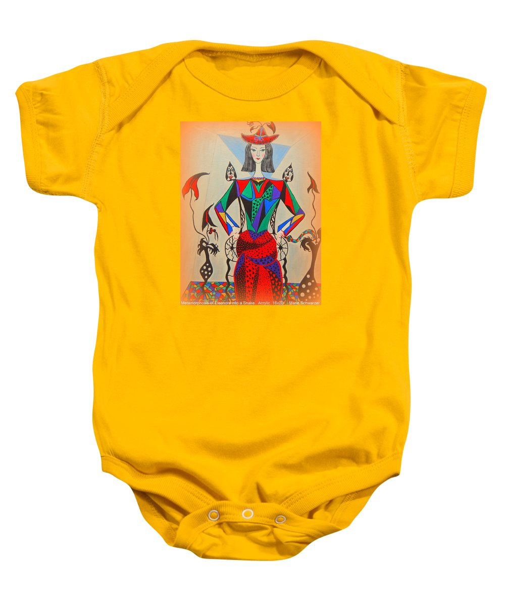 Abstract Baby Onesie featuring the painting Metamorphosis Of Eleonore by Marie Schwarzer