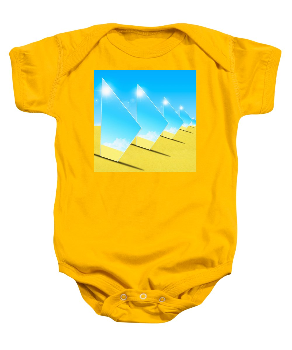 Background Baby Onesie featuring the photograph Mirrors On Sand In Blue Sky by Setsiri Silapasuwanchai