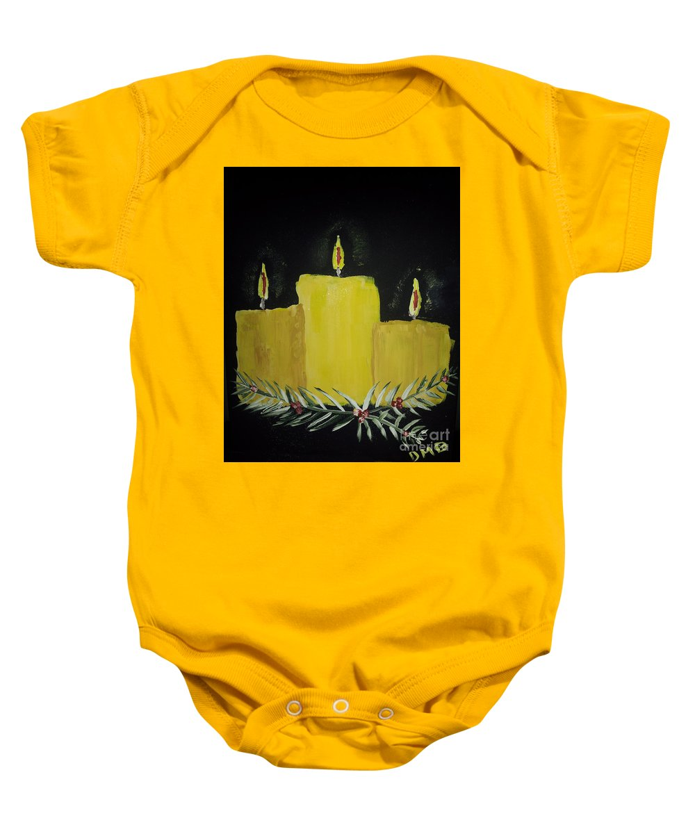 Candles Baby Onesie featuring the painting My First Painting by Donna Brown