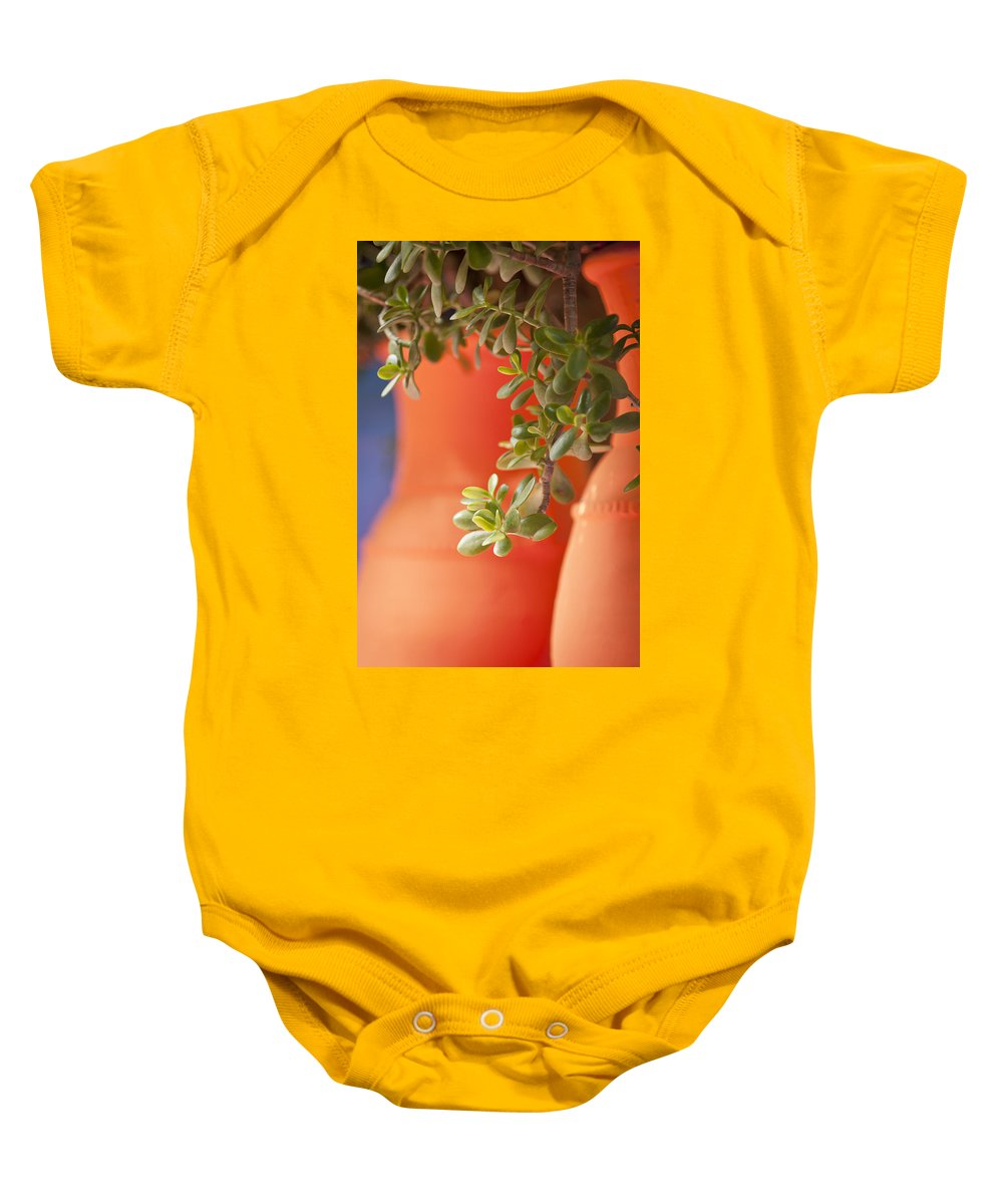 Orange Baby Onesie featuring the photograph Orange Pots Of The Jardin Marjorelle Morocco by Beth Riser