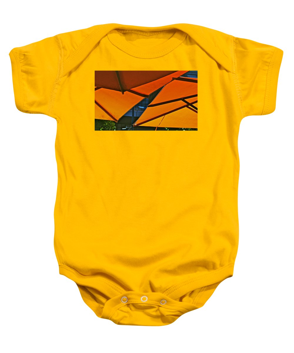 Orange Baby Onesie featuring the photograph Orange Umbrella Abstract by Eric Tressler