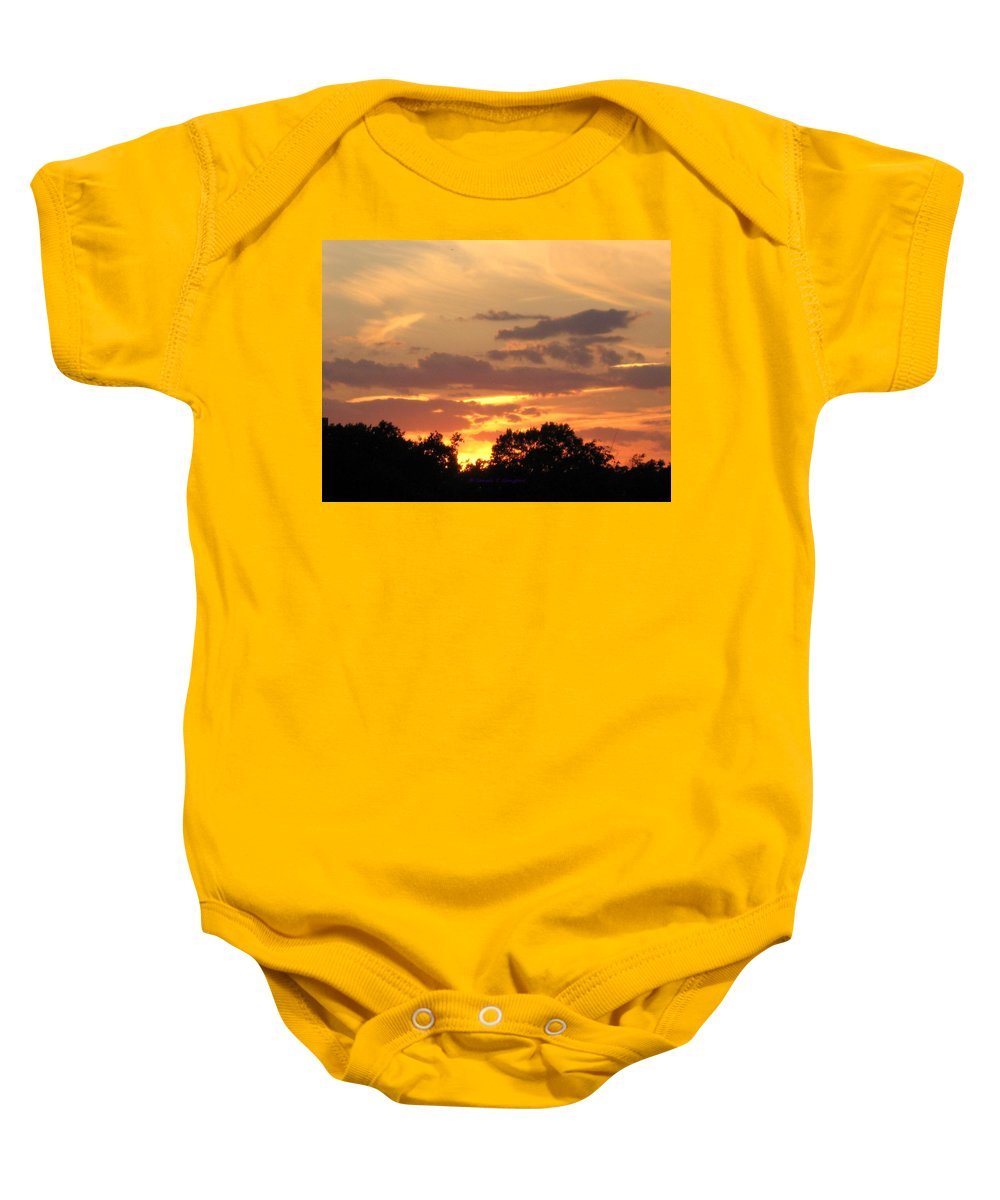 Crimson Gold Evening Baby Onesie featuring the photograph Painting The Sky by Sonali Gangane