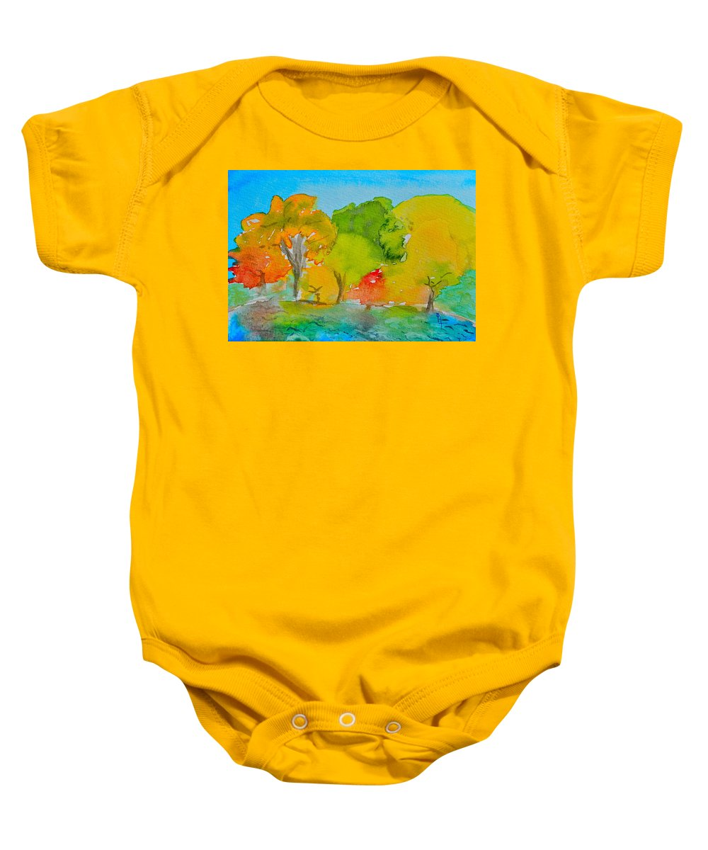 Park Baby Onesie featuring the painting Park Impression by Beverley Harper Tinsley