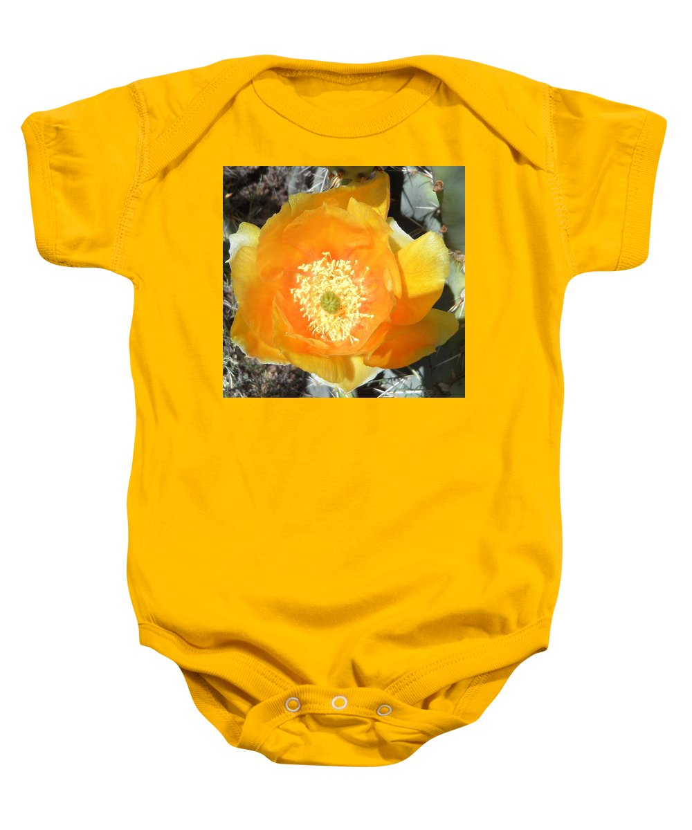 Prickly Baby Onesie featuring the photograph Prickly Pear Cactus Flower by Kume Bryant