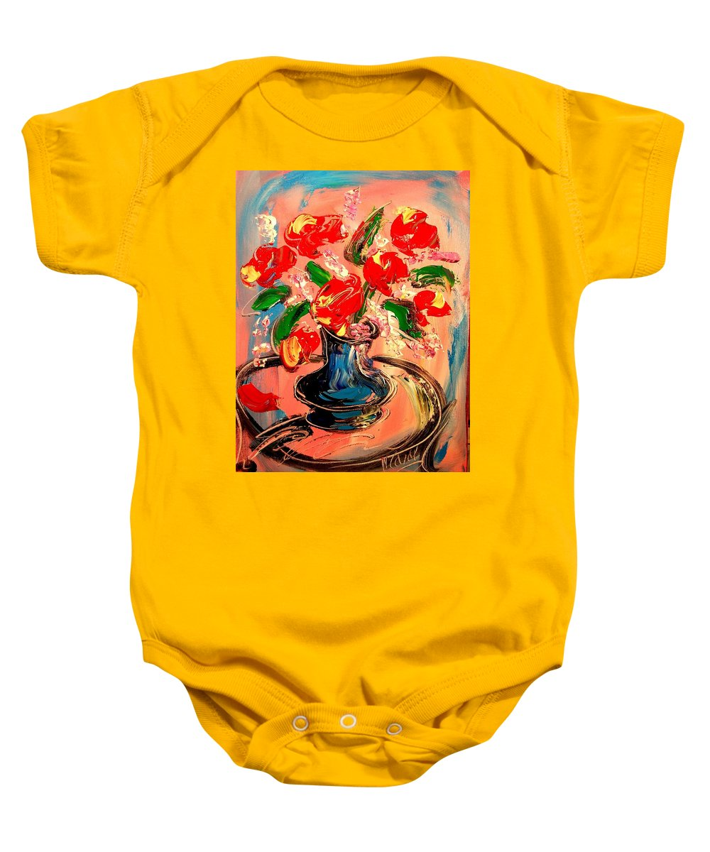 Baby Onesie featuring the painting Red Roses by Mark Kazav