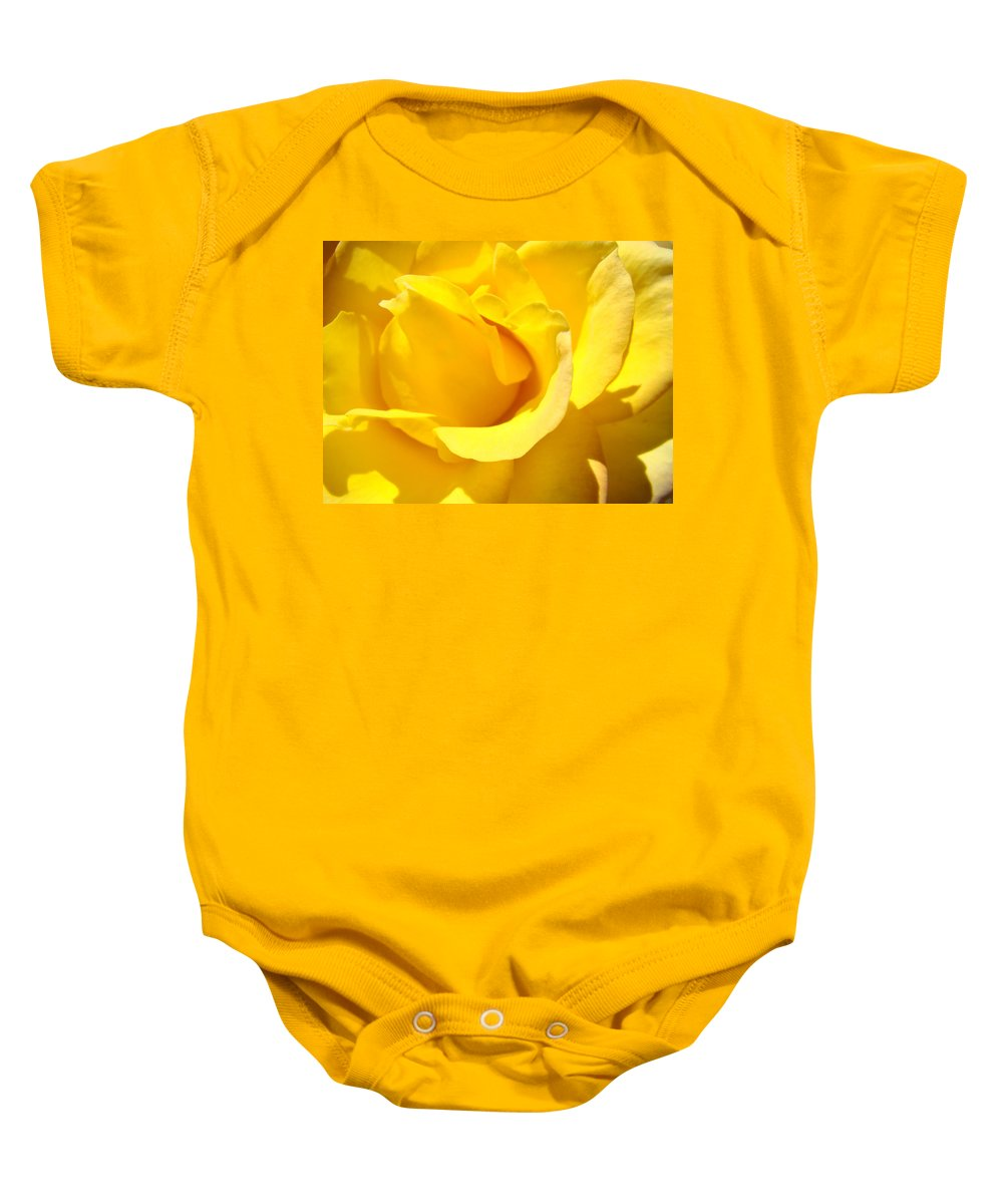 Rose Baby Onesie featuring the photograph Rose Petal Flower Yellow Colorful Rose Floral Baslee by Baslee Troutman