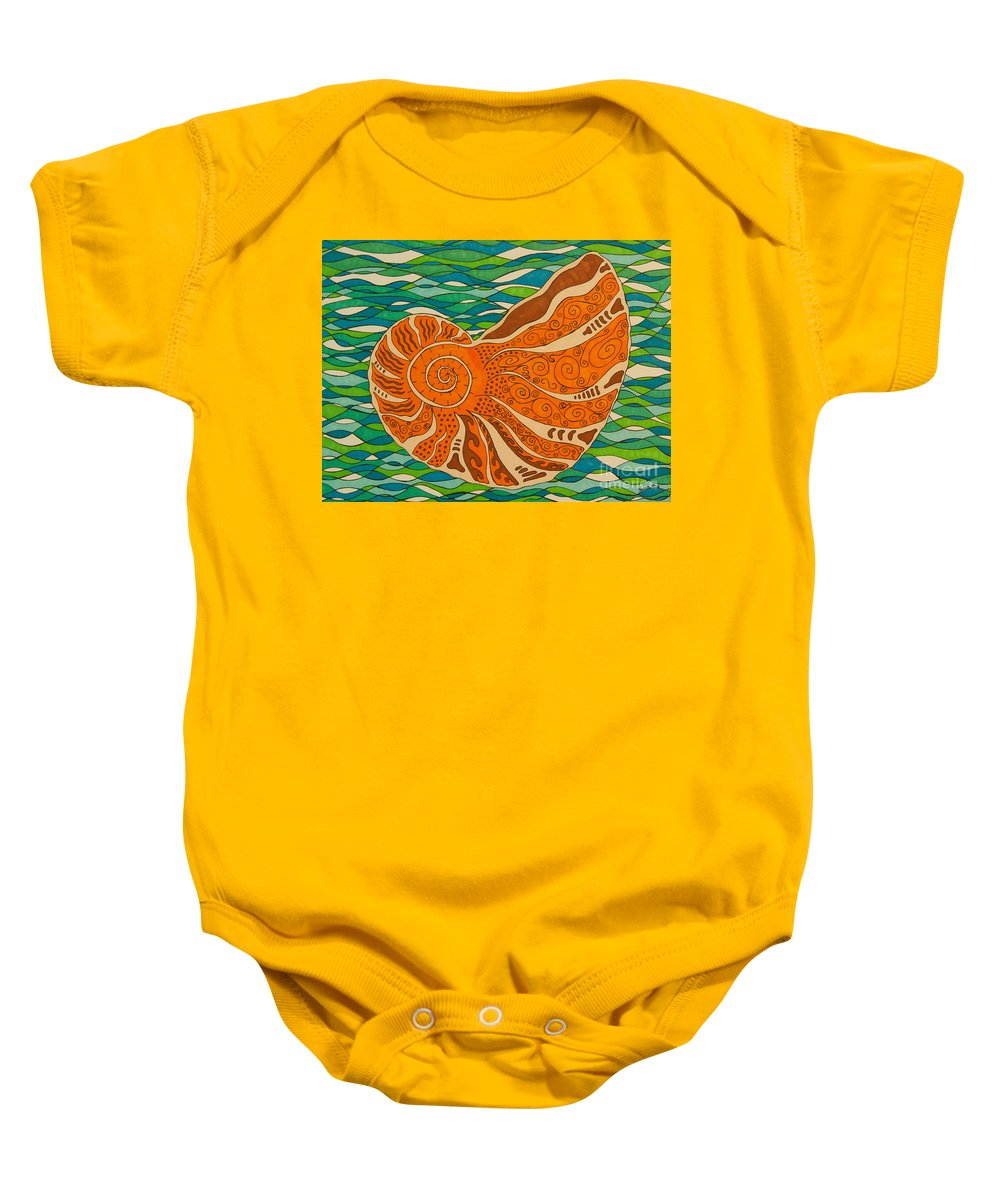 Shell Baby Onesie featuring the drawing Sea Shell by Susan Cliett