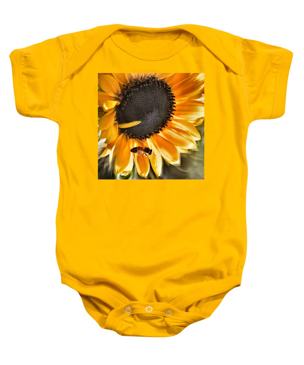 Sunflower Baby Onesie featuring the photograph Shoo Bee by Sally Bauer