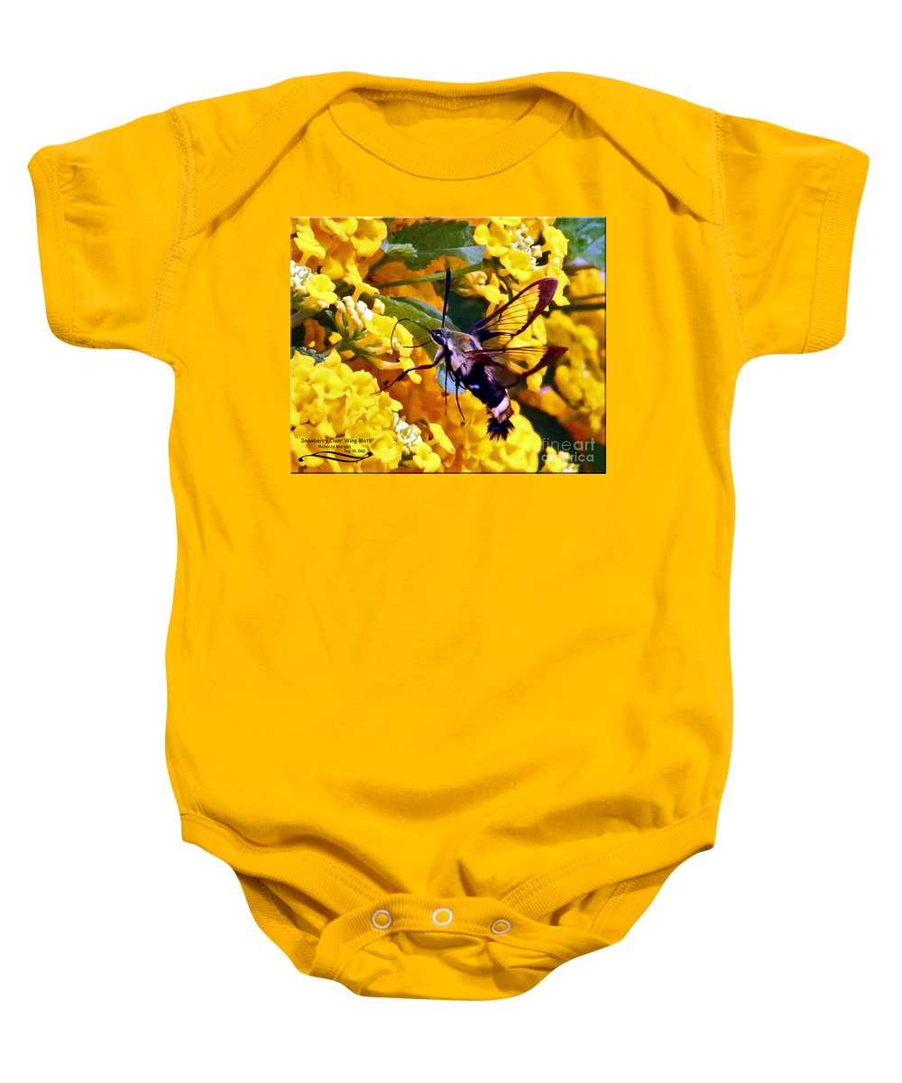 Snowberry Baby Onesie featuring the photograph Snowberry Clearwing Hummingbird Moth by Rebecca Morgan
