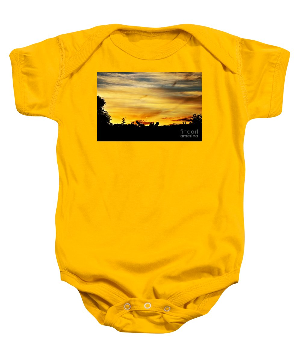 Photography Baby Onesie featuring the photograph Stripey Sunset Silhouette by Kaye Menner