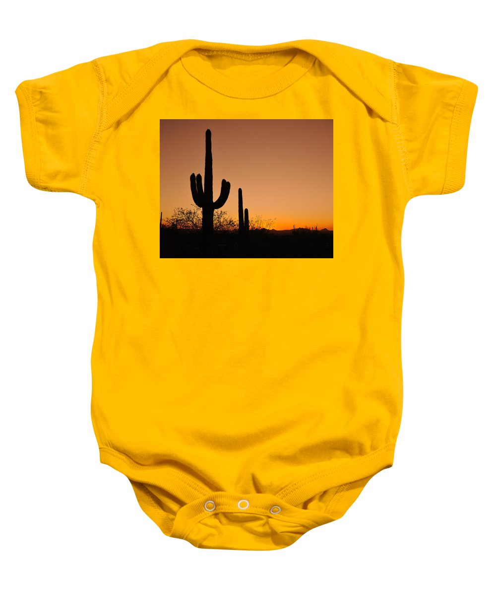 Suguaro Baby Onesie featuring the photograph Suguaro Sunset by Tony Beck