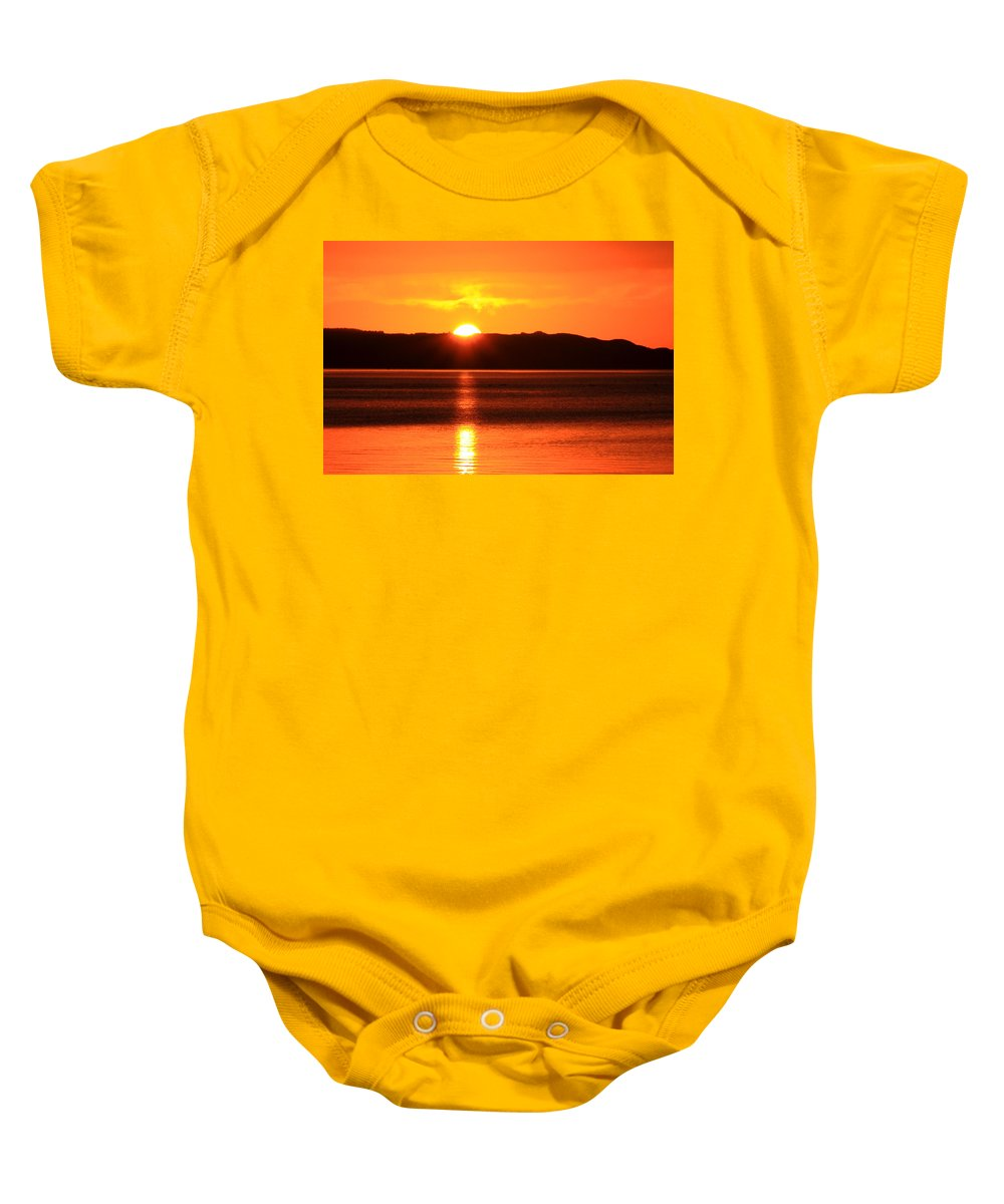 Sunrise Photography Baby Onesie featuring the photograph Sun Over Rotortua Nz by Rebecca Akporiaye