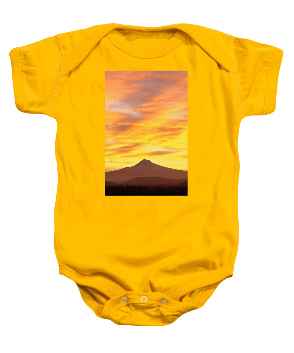 Beauty In Nature Baby Onesie featuring the photograph Sunrise Over Mount Hood, Portland by Dan Sherwood