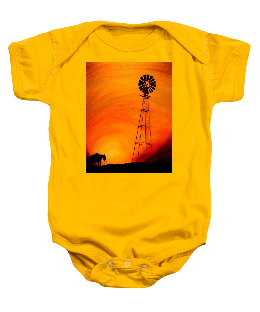 Sunset Baby Onesie featuring the painting Sunset by J Vincent Scarpace