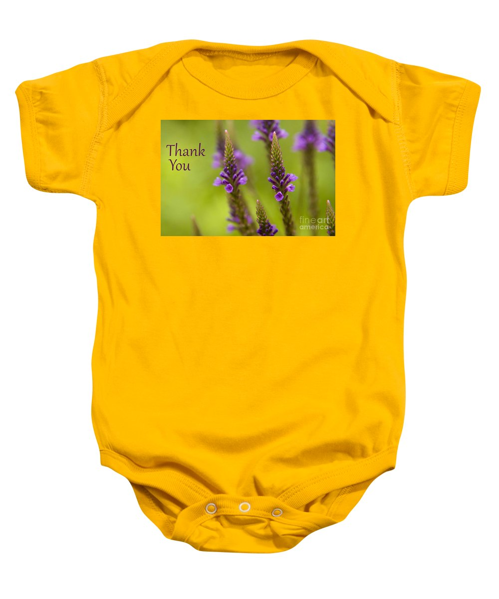 Thank You Baby Onesie featuring the photograph Thank You Wildflowers by Darleen Stry
