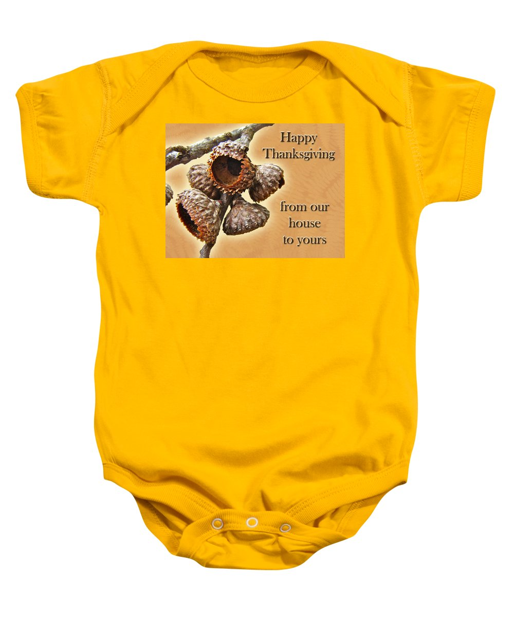 Thanksgiving Baby Onesie featuring the photograph Thanksgiving Card - Where Acorns Come From by Mother Nature
