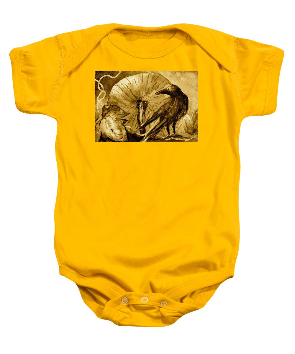Crow Baby Onesie featuring the painting That Which Lies Behind In Sepia by Beverley Harper Tinsley