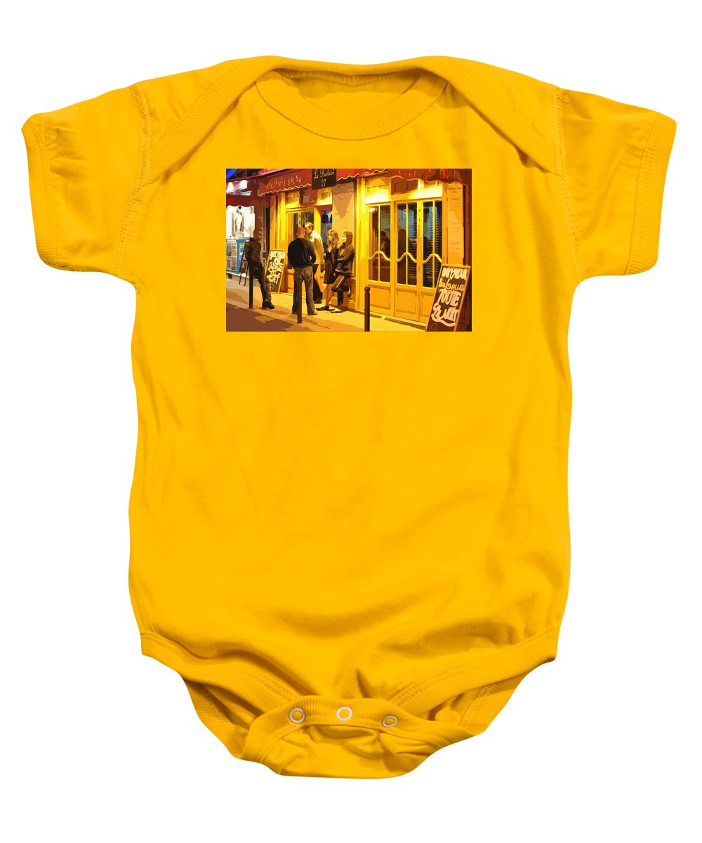 Bistro Baby Onesie featuring the photograph The Bistro At Night by Mary Machare