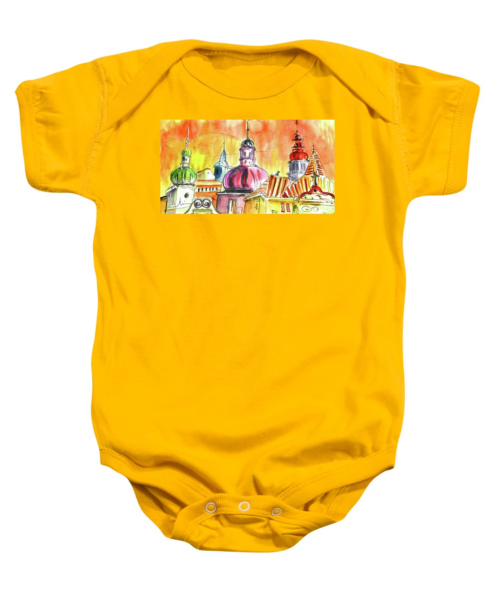 Travel Baby Onesie featuring the painting The Magical Roofs Of Prague 01 Bis by Miki De Goodaboom