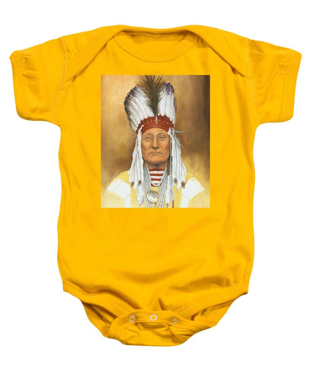 Native American Baby Onesie featuring the painting The Old War Chief by Stacy Drum