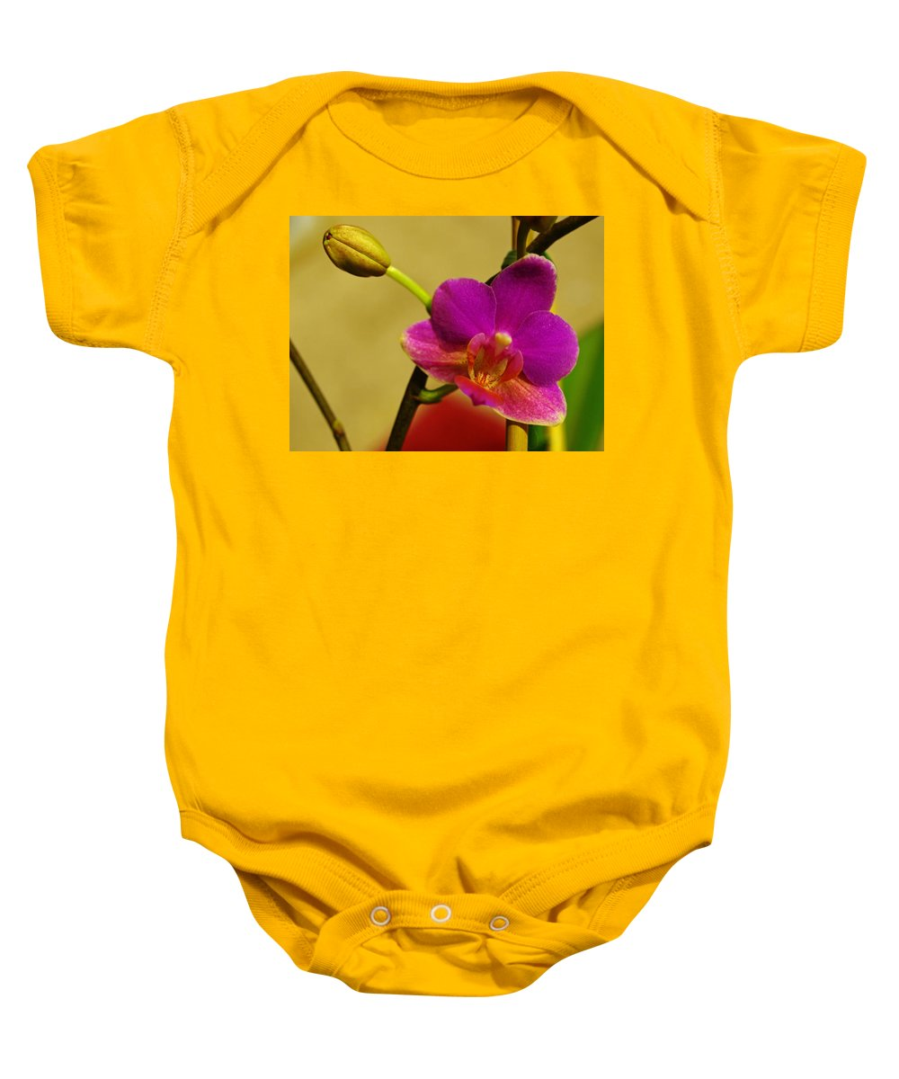 Flower Baby Onesie featuring the photograph The Original Orchid by Teri Schuster