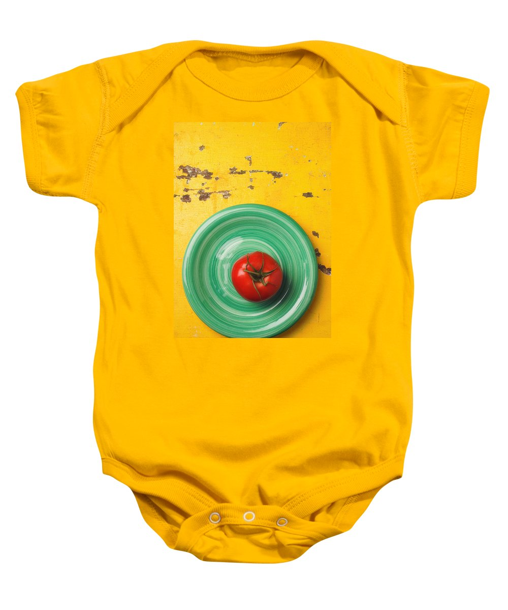 Tomato Baby Onesie featuring the photograph Tomato On Green Plate by Garry Gay