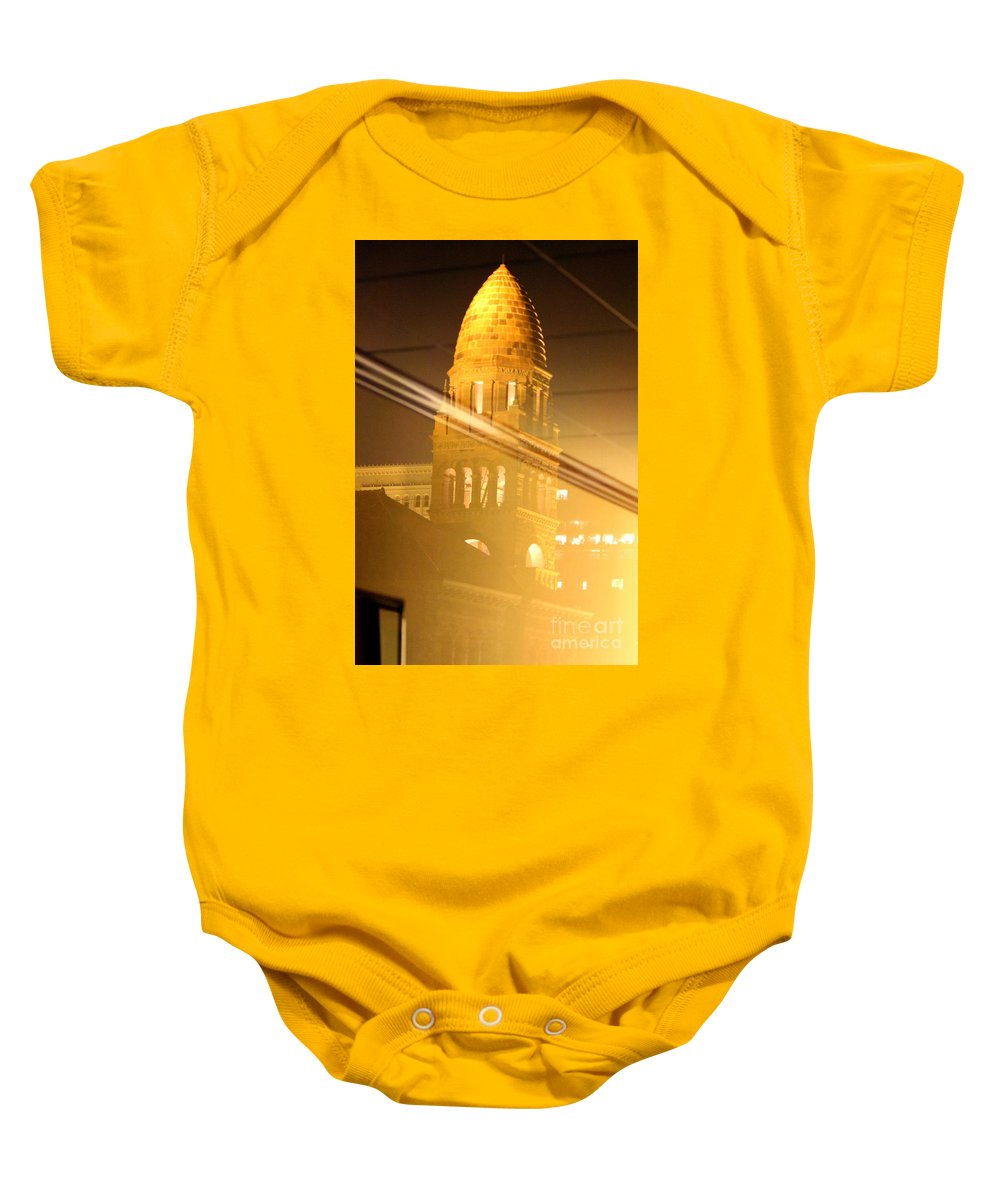 Transposed Baby Onesie featuring the photograph Transposed Tower by Alycia Christine