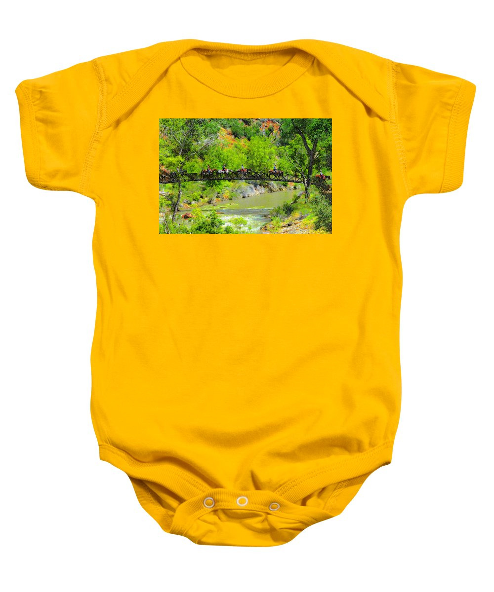 Horses Baby Onesie featuring the painting Virgin River Crossing by David Lee Thompson