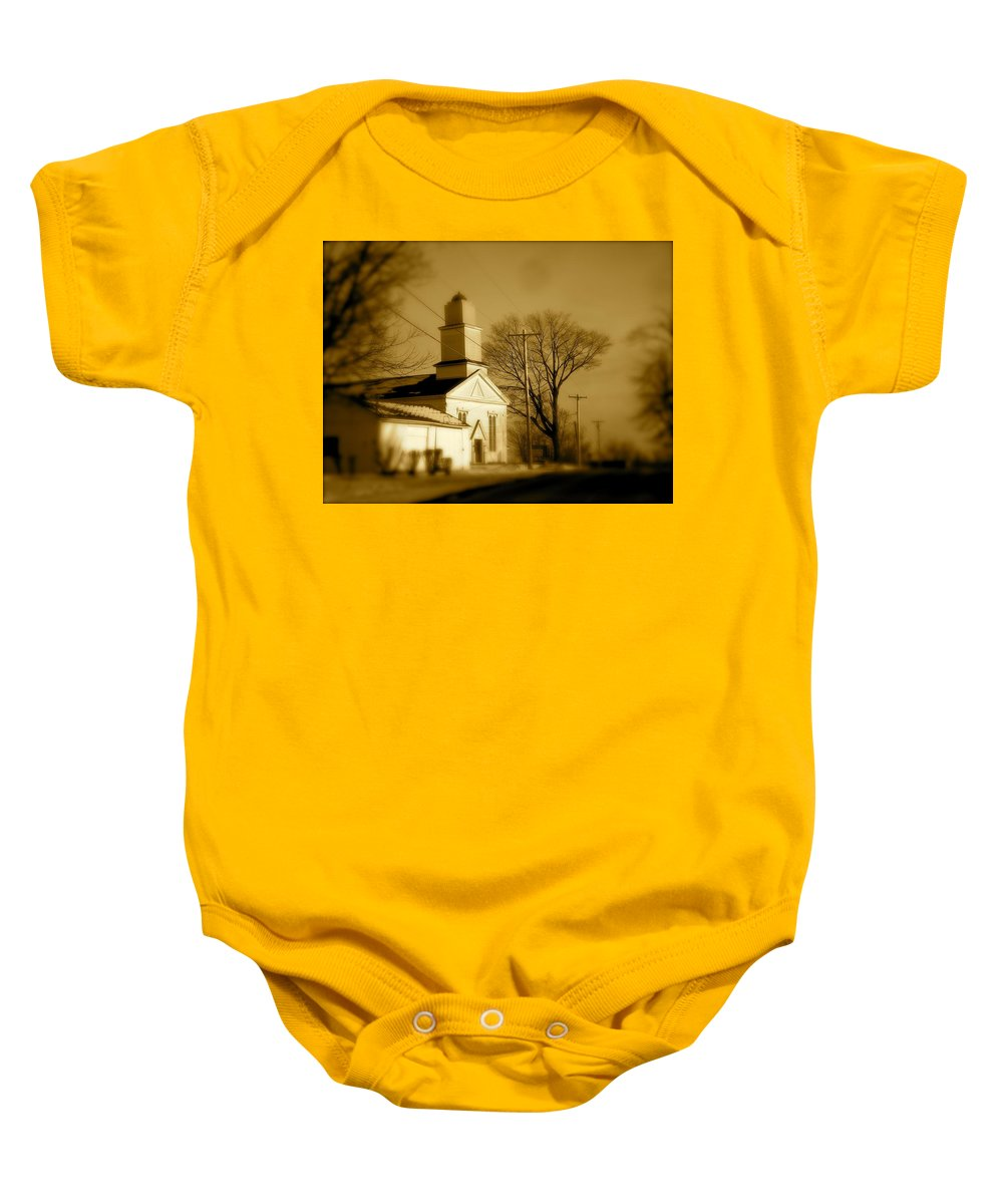 Landscape Baby Onesie featuring the photograph West Barre Church by Arthur Barnes